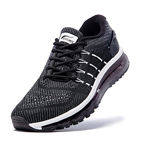 ONEMIX Air Sneakers Basses Chaussures de Course Running Compétition Sport Fitness Entraînement Multisport Outdoor Homme Noir yewJ9cYwKY