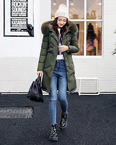 Feel Jacket Cotton Down Green Collar Coat Big Womens Hooded Long Clothing Aq7E6