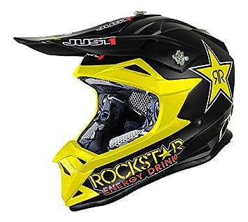 Casco Mx Just1 Rockstar J32 Pro Negro-Amarillo (M , Negro)