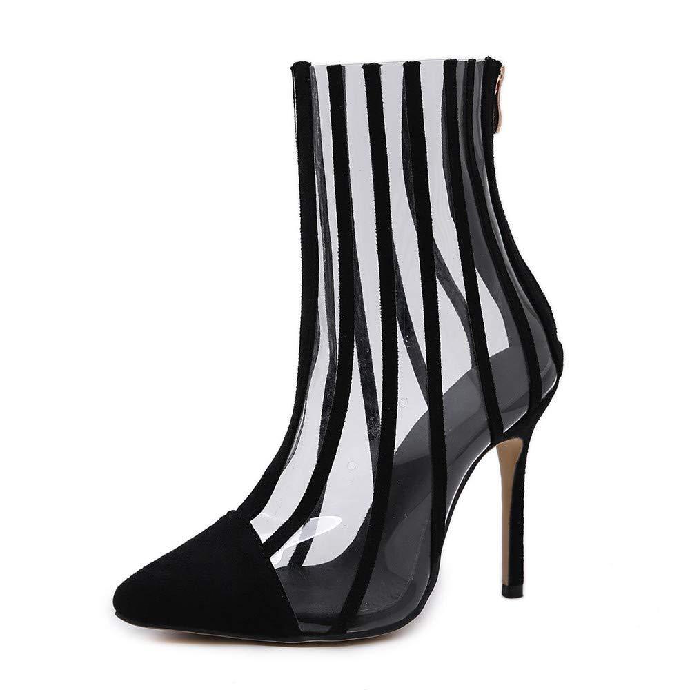 Sandalen Europäische Schönheit Schuhe PVC Sexy 11.5Cm 11.5Cm 11.5Cm Spitze Transparente Hochhackige Mode Stiefel  23bcdb