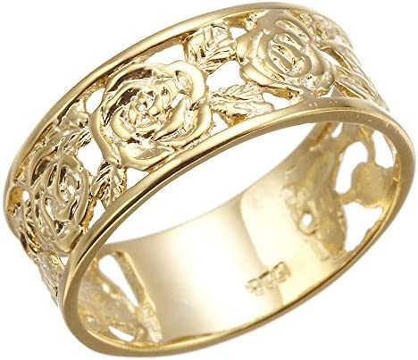 アクセサリーショップピエナ シルバー925 リング13号 ゴールドコーティング 薔薇 バラ ローズ 繊細な掘り 透かし柄