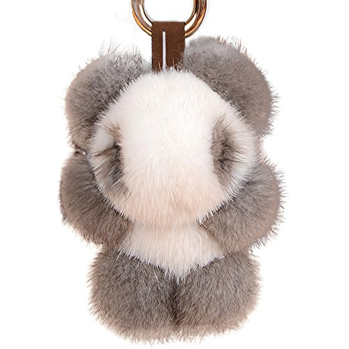 Yu He Panda Real Mink Fur Keychain Toy Bag Pendant Tassel Key Chain Hook Pom