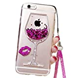 Emoji Iphone 6 Case Black Lemon Cute Case for iPhone 6, Liquid Glitter Case for 6s, Goblet Wine Glass Liquid Quicksand Flowing Floating Bling Glitter Sexy Makeup Case for Girls with Neck Lanyard (Rose)