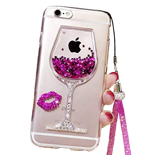 Black Lemon Cute Case for iPhone 6, Liquid Glitter Case for 6s, Goblet Wine Glass Liquid Quicksand Flowing Floating Bling Glitter Sexy Makeup Case for Girls with Neck Lanyard (Rose)