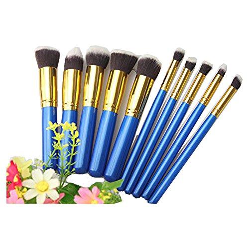 KOLIGHT 10pcs Fashion Portable Premium Makeup Brush Set Cosmetics Foundation Blending Blush Eyeliner Face Powder Brush Makeup Brush Kit (Blue+Gold)