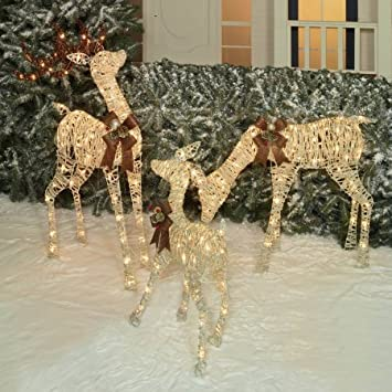 holiday time christmas decor set of 3 woodland look deer family