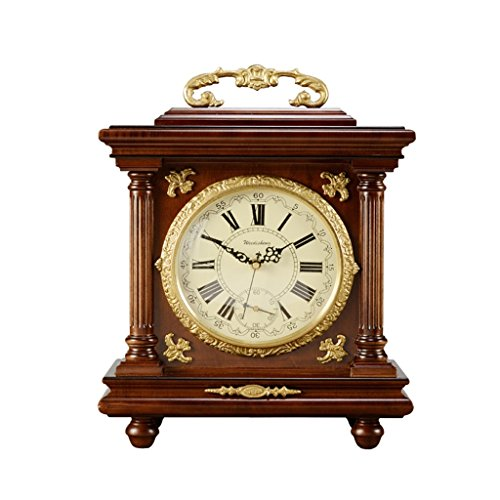 CLOCKZHJI Retro Desk Clock and Table Clock Wood Table Clock, Wooden Case, Square Retro Carriage Clock Pendulum Pieces, 16.2