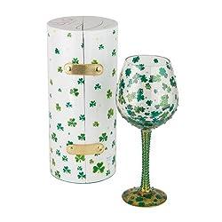 Santa Barbara Design Studio Lolita Super Bling Collection Wine Glass, Luck of The Irish