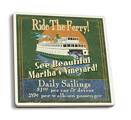 Lantern Press Martha's Vineyard, Massachusetts - Ferry Ride Vintage Sign (Set of 4 Ceramic Coasters - Cork-Backed, ()