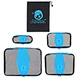 Chameleon PACKING CUBES for Travel -4 Piece Set Luggage Organizers with Shoe Bag