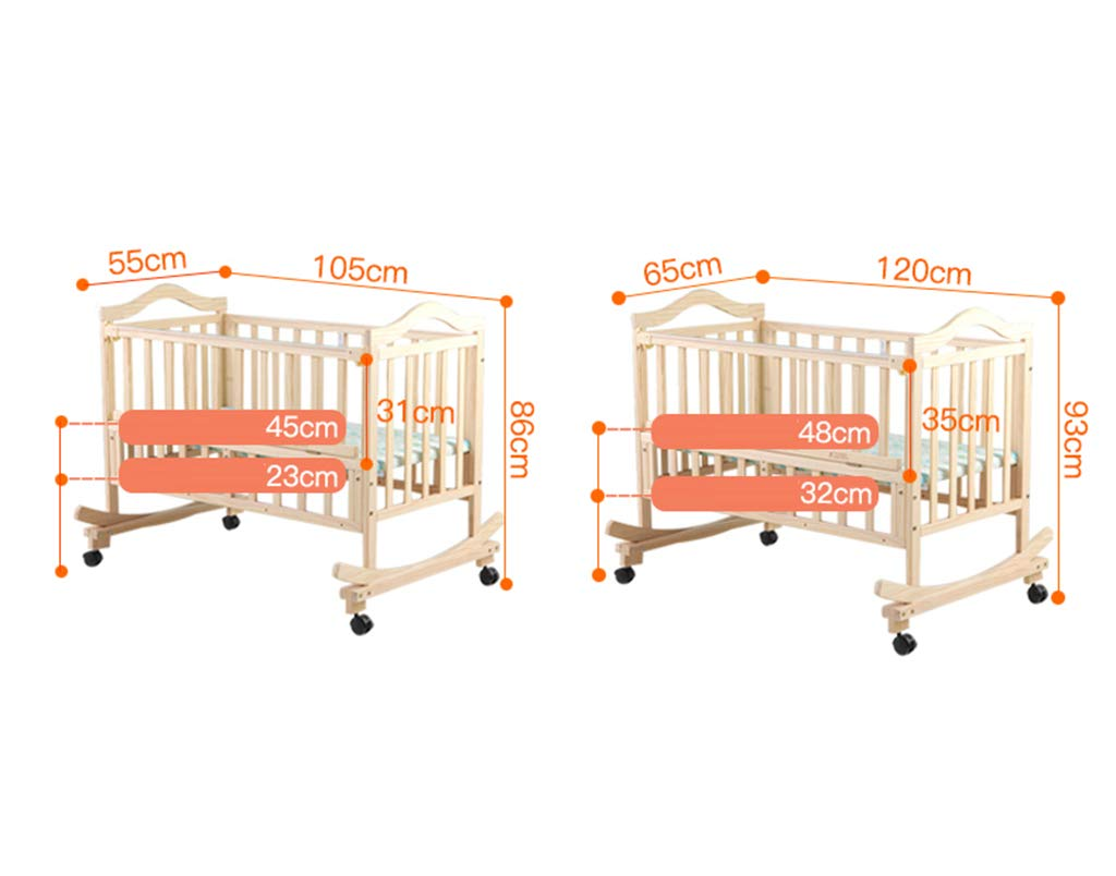 gr/ö/ße : 105 * 55 * 86CM Massivholz Wiege Bett Baby Unlackiert Umweltschutz Babybett Multifunktions Neugeborenen Shaker 105-120 CM