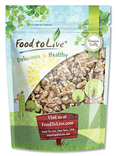 Food to Live Organic Walnuts Shelled (Kosher, Bulk) — 2.5 Pounds - Organic Raw Walnut