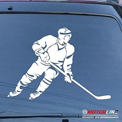Hockey Player Decal Sticker Sport Car Vinyl die cut pick size color