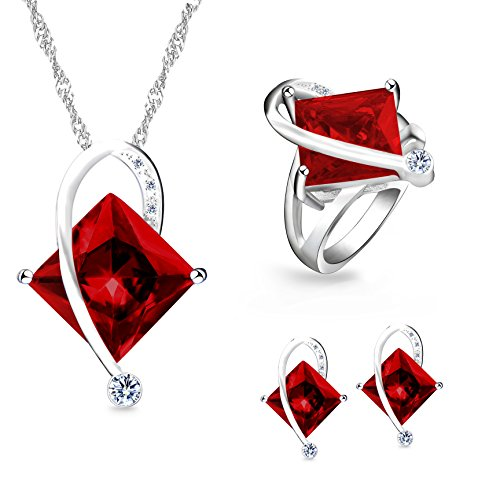 (Uloveido Fashion Silver Plated Big Square Red Birth-Stone Pendant Necklace Pierce Earrings Dainty Birthstone Ring Party Jewelry Set for Girl-Friend (Red, Size 10))