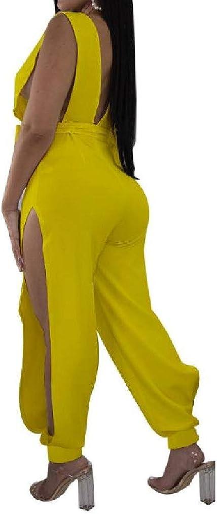 WillingStart Women Deep V Neck Evening Club Side Split Back Hollowed Romper Playsuit Jumpsuit