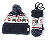Women's & Men's Warm Cashmere Jacquard Knitted Pom Pom Beanie Hat, Neck Handing Gloves, Collapsible Earmuff (Free Size, Black (Hat & Mittens))