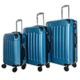 WhalePassing hardshell suitcase with TSA lock and super spinner, 3 piece luggage set (Blue-Stripe)