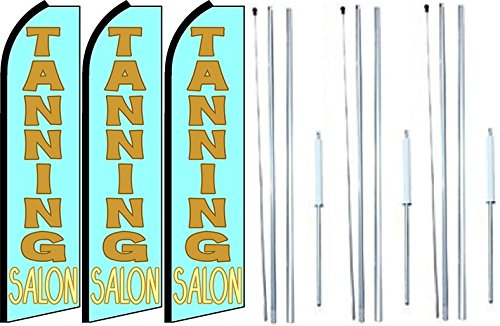 Pack of 3 Tanning Salon King Swooper Feather Flag Sign Kit with Complete Hybrid Pole Set