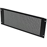 NavePoint 4U Blank Rack Mount Panel Spacer With Venting For 19-Inch Server Network Rack Enclosure Or Cabinet Black