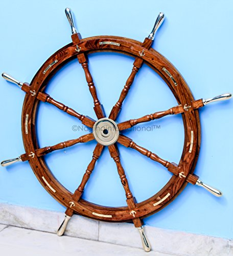 Nautical Premium Sailor's Hand Crafted Brass & Wooden Ship Wheel | Luxury Gift Decor | Boat Collectibles | Nagina International (48 Inches, Anchor & Strips With Brass Handles)
