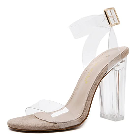 561283ccf17 Women s Sandals Platform Sexy Transparent Block High Heel Shoes Ladies Buckle  Peep Toe Elegant Dress Party