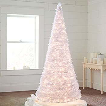 brylanehome 712 ft white pre lit pop up trees white0 - Amazon White Christmas Tree