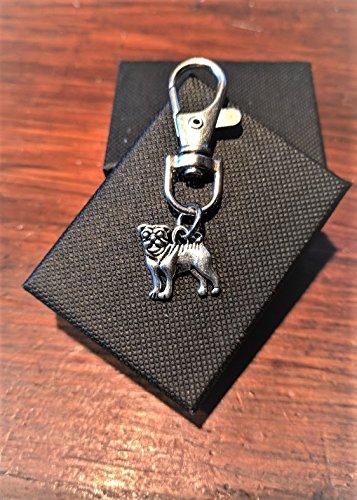 Handmade Silver Alloy Pug Dog Clasp / Handbag Charm / Zip Puller