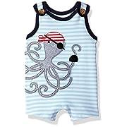 Mud Pie Baby Boys' Shortall One Piece, Pirate Octopus, 0-3 Months