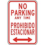 ComplianceSigns Aluminum Parking Control Sign, Reflective 18 x 12 in. with Parking Not Allowed info in English + Spanish, White