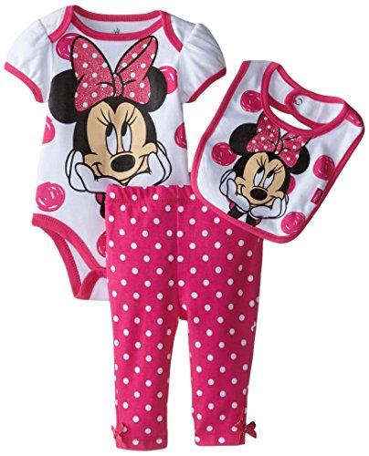 Disney Baby Girls  Minnie Mouse Bodysuit Bib and Pant 3 Piece Set, Pink, 0-3 Months