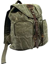 Olive Drab Stonewashed Heavyweight Army Backpack with Leather Accents