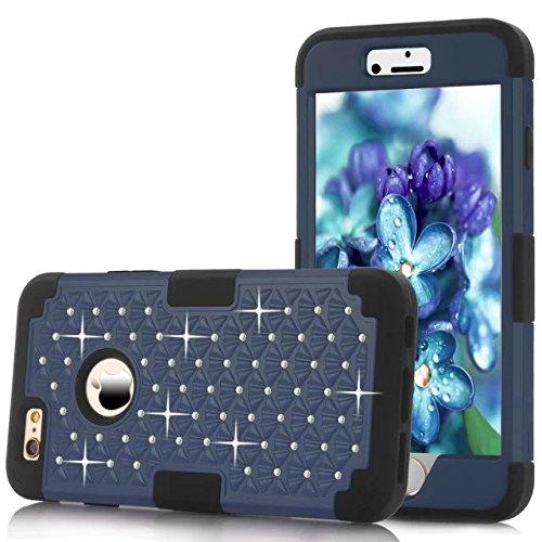 IPhone 6 hülle,iPhone 6S hülle,Lantier [weicher harter Tough Case] ??Designer Kristallbling Hybrid Rüstungs Kasten Abdeckung für Apple Iphone 6 6S Deep Blue + Schwarz