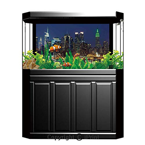 Terrarium Fish Tank Background,New York,NYC Midtown Skyline in Evening Skyscrapers Amazing Metropolis City States Photo,Royal Blue,Photography Backdrop for Pictures Party -