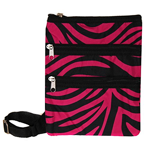 - World Traveler Womens 9 Inch Swingpack Purse Bag, Fuchsia Black Zebra, One Size
