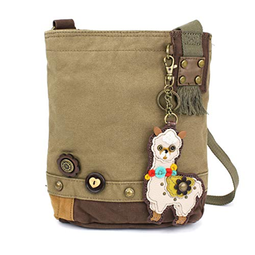Chala Patch Cross-Body Women Handbag, Olive Canvas Messenger Bag with Chala Key fob (LLAMA- Olive)