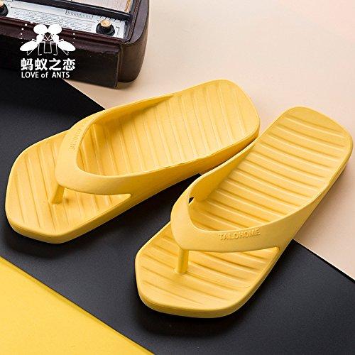 Couleur D'été Style HONG 40 dérapant Solide Anti 40 Yellow 41 Yellow Chaussures Tongs 41 Tendance JIA Résistant De Couples Accueil Nouveau à Pantoufles La L'usure Rue Hors 0fwIZx