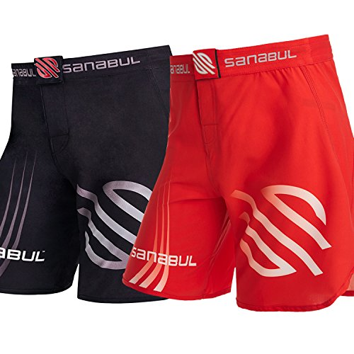 "Sanabul Series 1 Combat MMA Kickboxing Brazilian Jiu Jitsu BJJ Shorts (31""-33"" Waist, Red)"