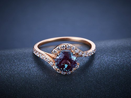 Unique Alexandrite Engagement Ring Sterling Silver 6.5mm Round Cut Color Changing Gemstone Bridal Promise Ring Rose Gold Plated ()