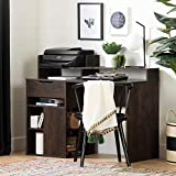South Shore Furniture Holland Desk with Hutch and Storage, Brown Oak, White