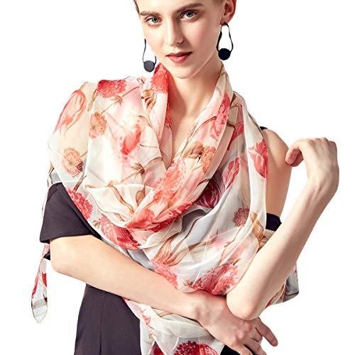 Shawl Scarf New Silk (Silk Scarf Women Lightweight Flowers Print Shawl Wrap Scarf 74