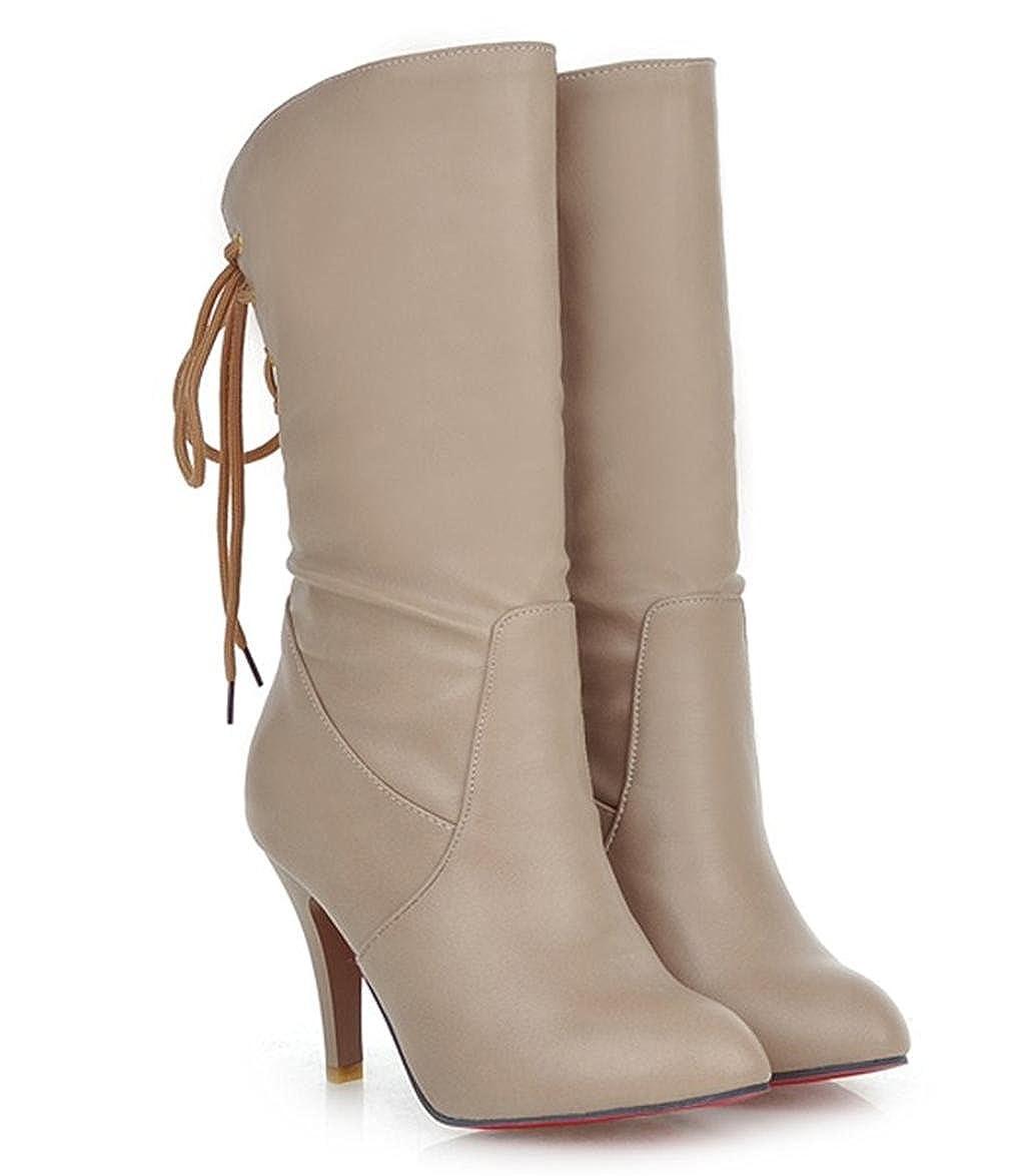 marron 38 EU HETAO Talons de personnalité Ladies femmes High Heel Stretch Faux cuir Chaussures en Daim TempéraHommest élégant Chaussures