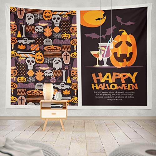 KJONG Happy Halloween Banner Greeting Invitation with Doodle and with Pumpkin and Letters Holiday Halloween Cocktail Decorative Tapestry,60X60 Inches Wall Hanging Tapestry for Bedroom Living Room -