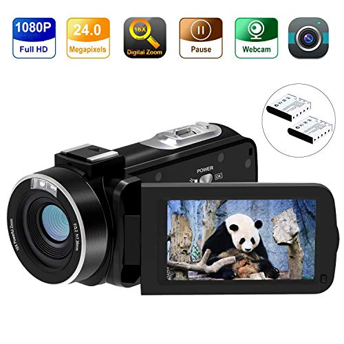 Video Camera Camcorder FamBrow Digital YouTube Vlogging Camera Recorder Full HD 1080P 15FPS 24MP 3.0 Inch 270 Degree Rotation LCD 16X Digital Zoom Camcorder with 2 Batteries