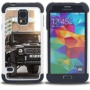 """SAMSUNG Galaxy S5 V / i9600 / SM-G900 - 3 en 1 impreso colorido de Altas Prestaciones PC Funda chaqueta Negro cubierta gel silicona suave (Brutal Brab Merc GL"""")"""