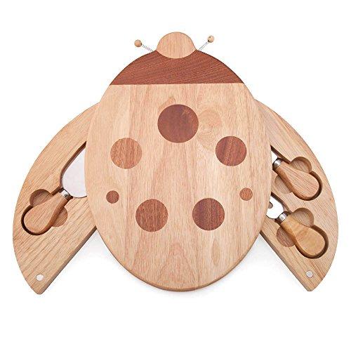 (ILEAF Ladybug Shaped Rubber Wood Cheese Board and Tool Set)
