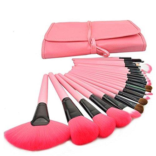 DRQ Pink 24pcs Professional Wool Cosmetic Makeup Brush Set Kit Brushes tools Make Up Case