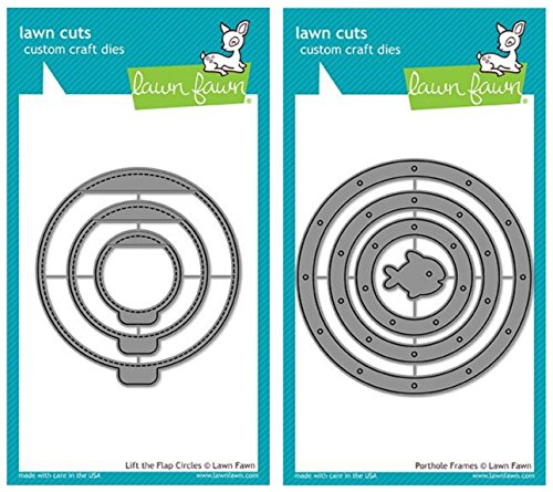 Lawn Fawn Porthole Frames Dies and Lift the Flap Circles Dies (2 Piece Bundle) (LF1714, LF1715)