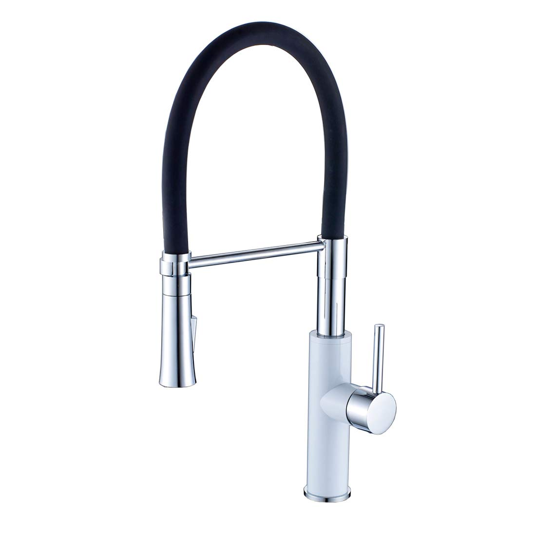 Fapully Contemporary Single Handle Pull-Down Kitchen Sink Faucet with Sprayer Swivel Spout White Painting and Chrome Mixer Taps