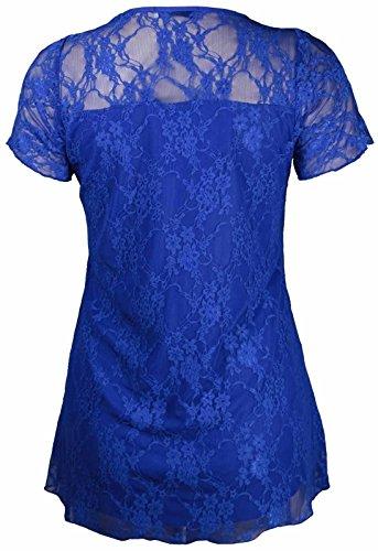 Dentelle 56 Femmes florale courtes Royal Nouveaux Contraste Tunique Plus Chocolate Pickle Hauts 42 manches Taille Blue w6WO0U8qE