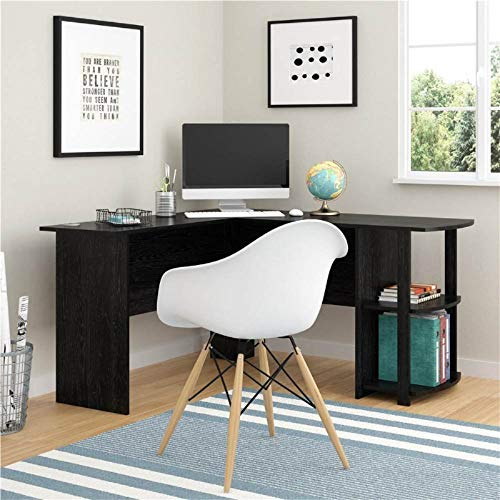 L-Shaped Computer Desk with 2 Layer Bookshelves Reversible Corner Computer Office Desk PC Laptop Study Table Right-Angle Workstation Wooden Desk L Shaped Office Desk Corner Desk for Home (Black)